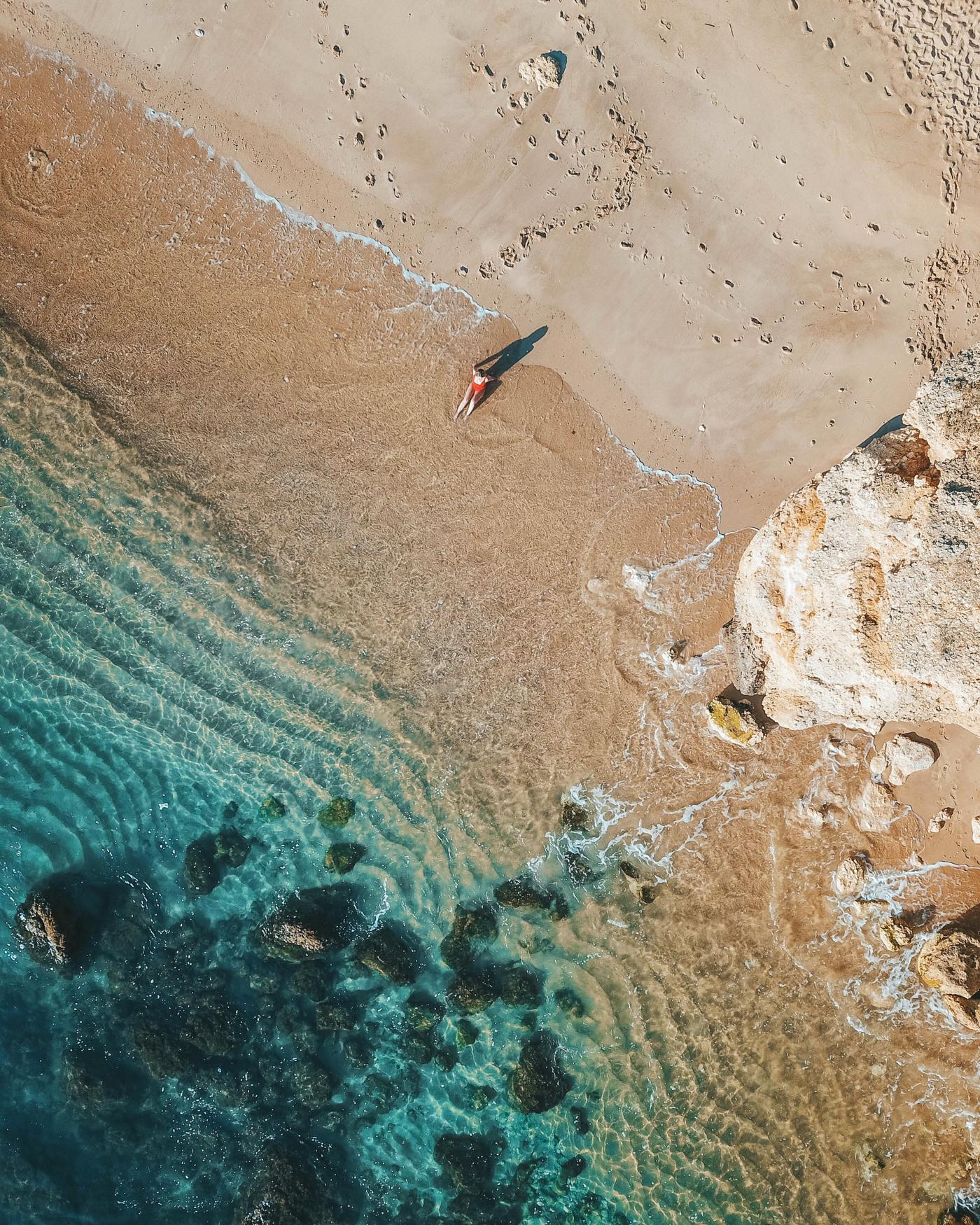 Overhead drone footage of beach