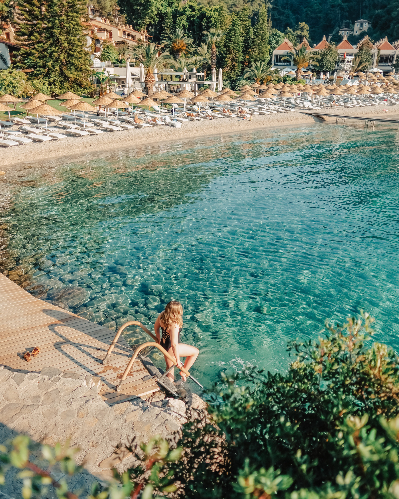 The sparkling waters in the cove of Hillside Beach Club in Fethiye, Turkey.