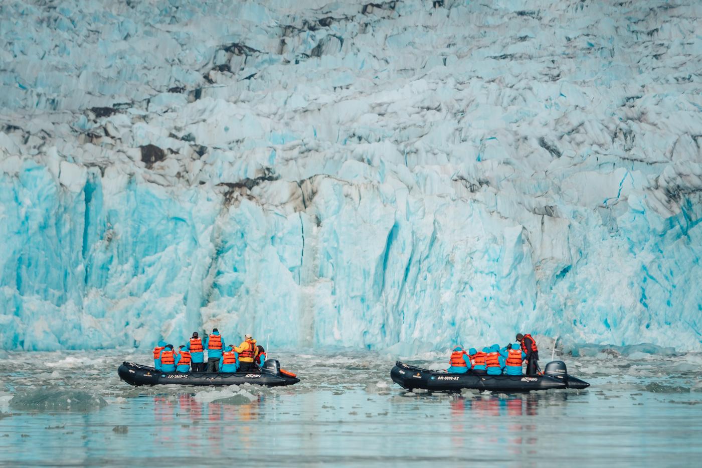 Zodiac boat at Dawes Glacier