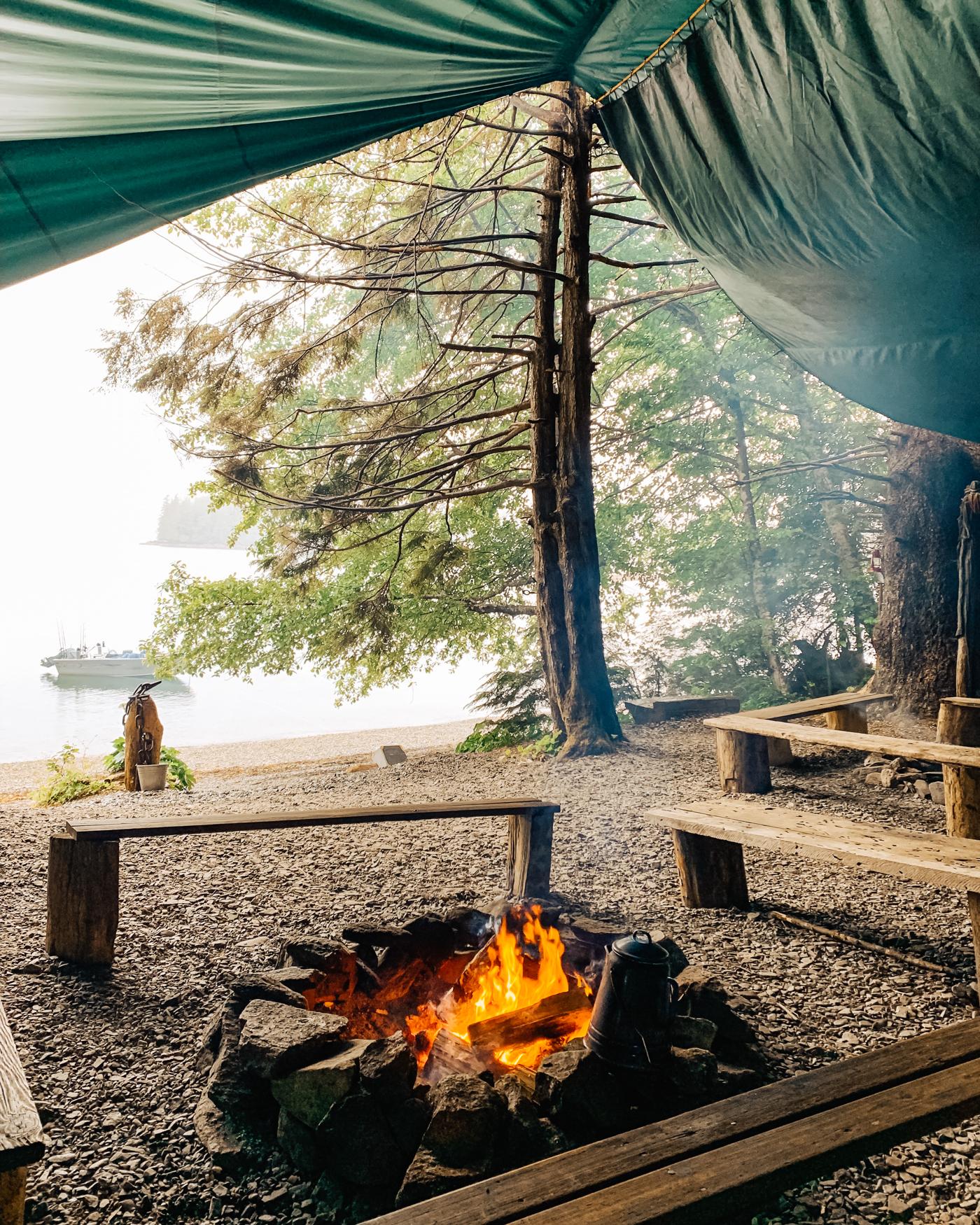Our beach campfire in Ketchikan, Alaska