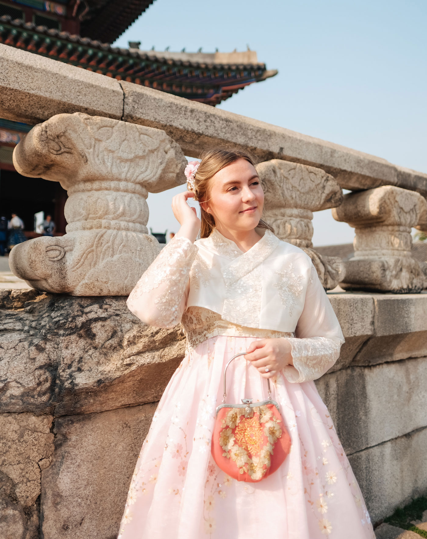 Dressed in Hanbok at Gyeongbokgung Palace in Seoul