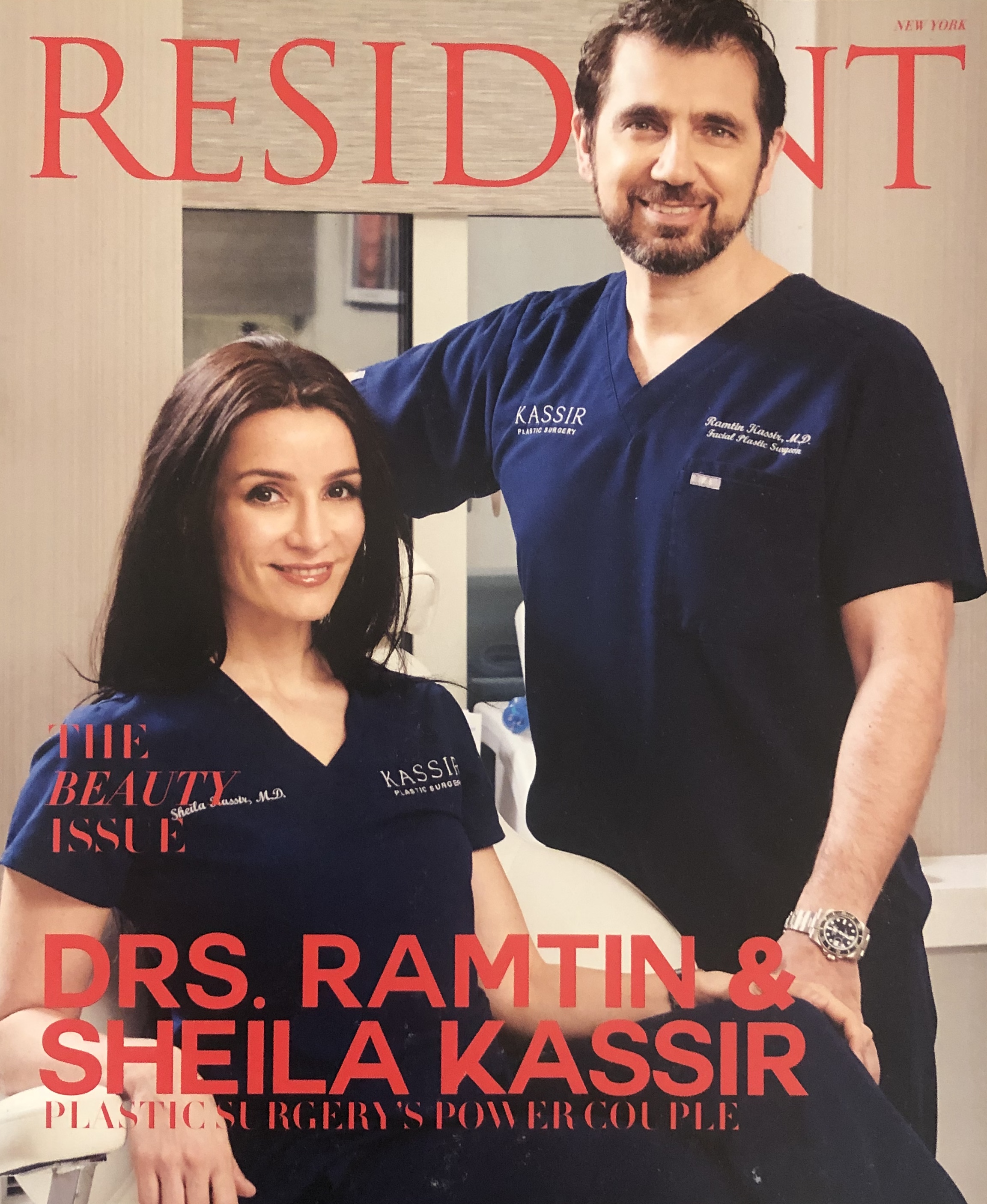 Resident Magazine / The Beauty Issue - Plastic Surgery's Power Couple Drs. Ramtin and Sheila Kassir discusses their state of the art medical spa right here in the heart of New York City. In the article the doctors highlight the latest technologies including Exilis, EmSculpt, Emsella and Non Surgical Treatments such as Non Surgical Rhinoplasty, Non Surgical Lip Augmentation and Non Surgical Facial Rejuvination.