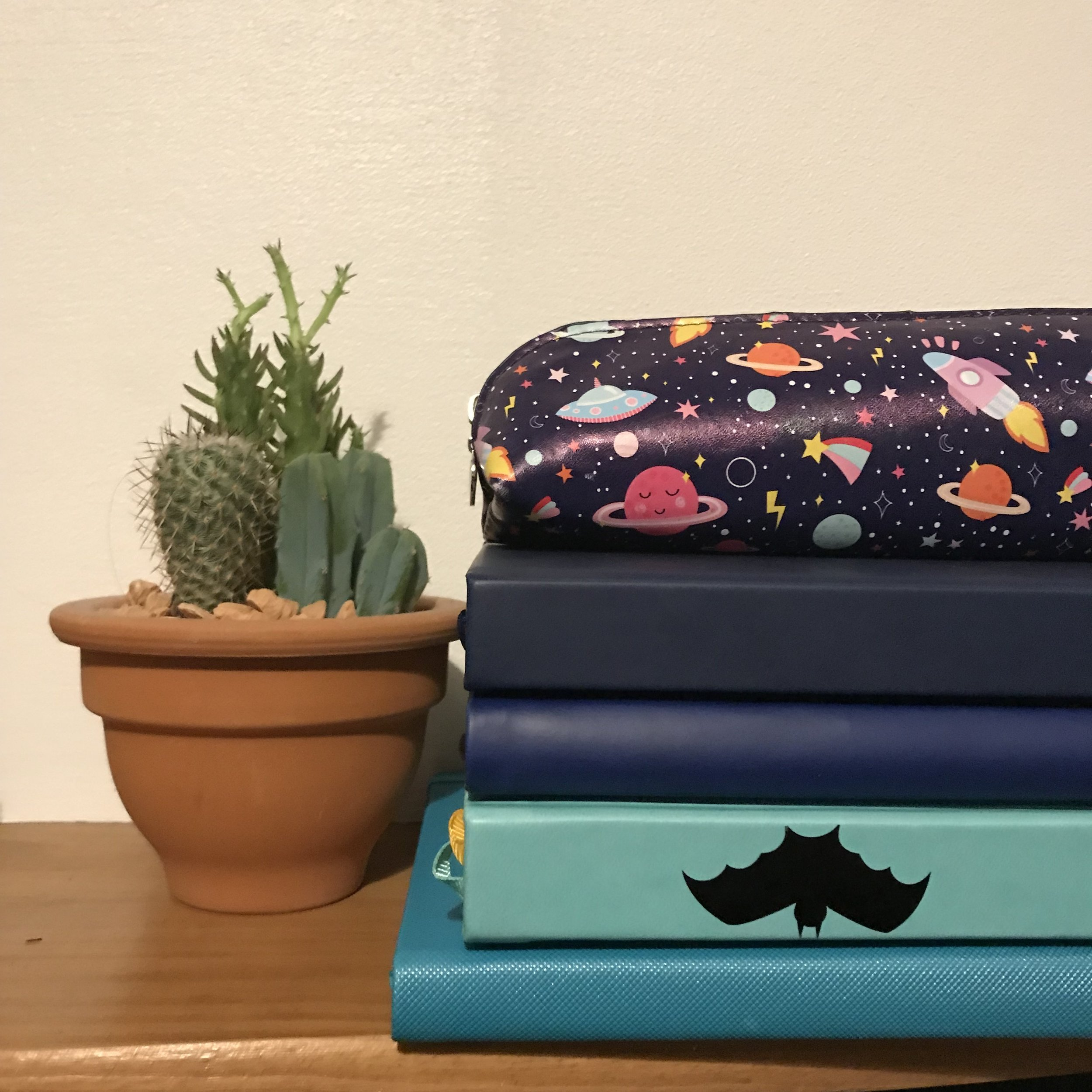 From top to bottom Lux Productivity, Simple Elephant, Inspire Now (with added bat sticker!) and Action Day. Photo and styling by Jess of  Stitches & Stars . Pencil case from  Handmade Nottingham .