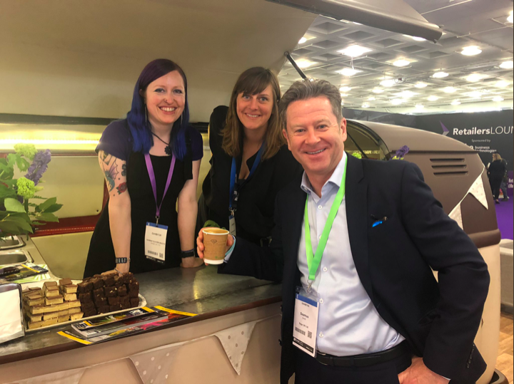 Serving coffee at the Sage stand and highlighting the benefit of human interaction!    Robots for improved customer service and interaction in retail?