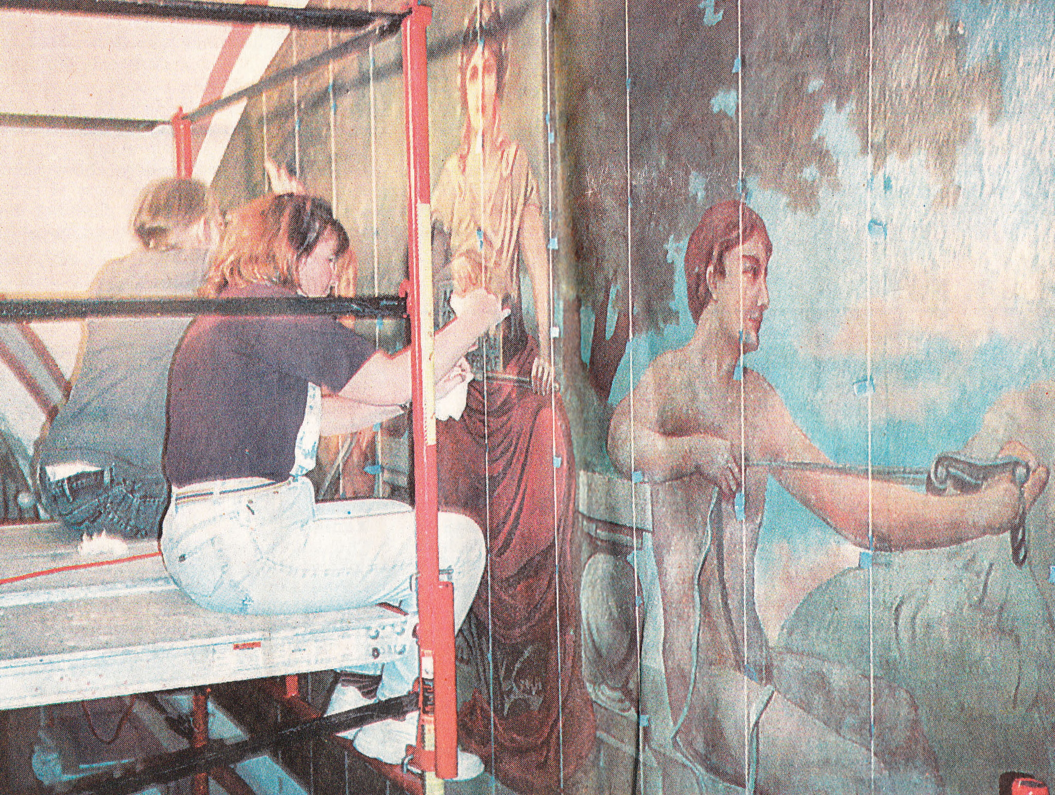 Nancy Achberger of Milford uses a syringe to inject an adhesive behind an air pocket in the paint of this mural on the second floor of the Greene County Courthouse. Archberger and the three other artists, including John Babcok who is in the background, are renovating the mural.