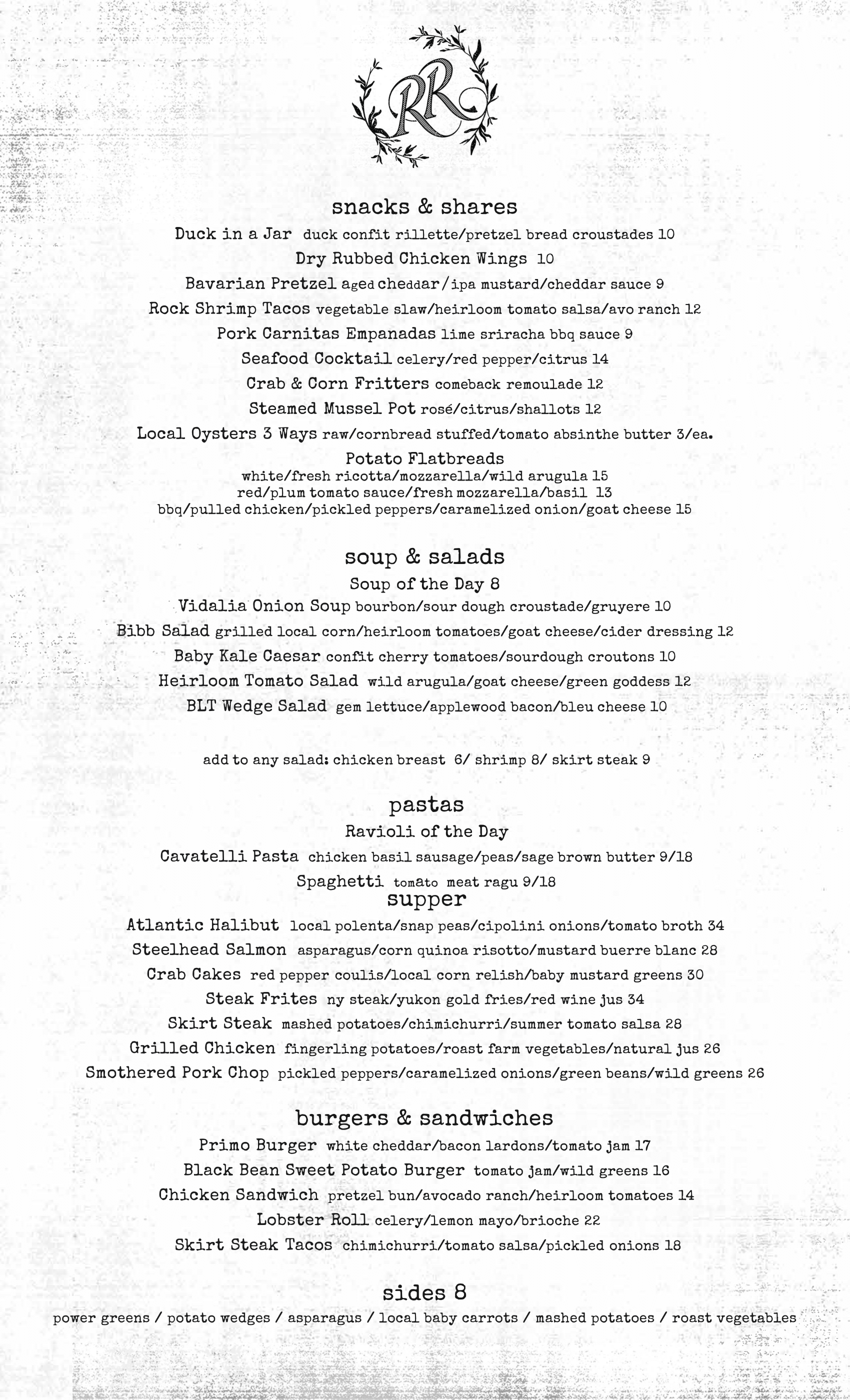 River Road Oyster Bay_New Menu_August 2019