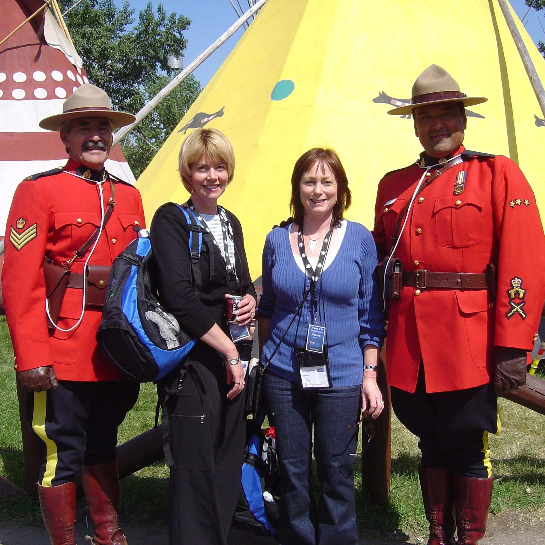Marie+%26+Sharon+with+Mounties+at+the+Calgary+Stampede%2C+Canada.jpg