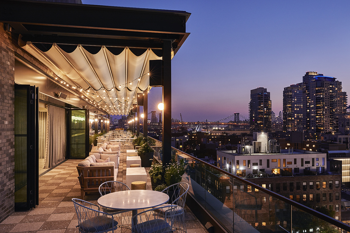 The rooftop terrace with Manhattan views