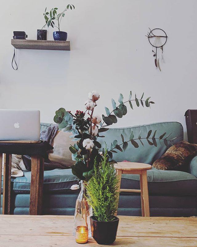 Notre petite déco minimaliste de Noël. Eucalyptus, fleur de coton, fleur de houx et cyprès citroné.  @jardinsvitrumhortis