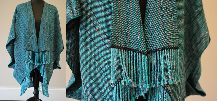Turquoise with teal & violet poncho