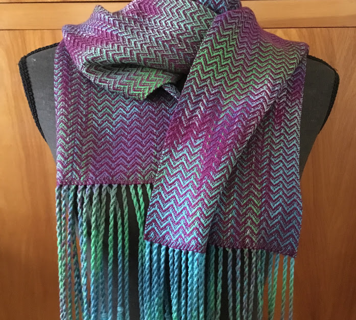Ocean Series 1 - Hand-dyed, handwoven, tencel scarf by Meridith Entingh