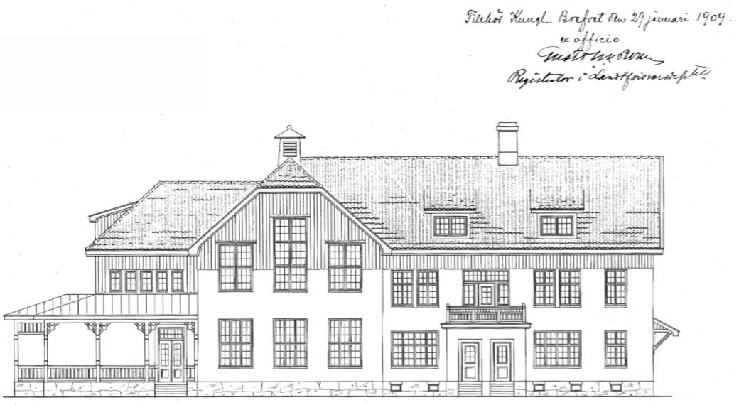 Marketenteriets södra fasad efter Josephsons ursprungliga ritningar. Inskannad ritning ur Fortifikationsverkets arkiv.