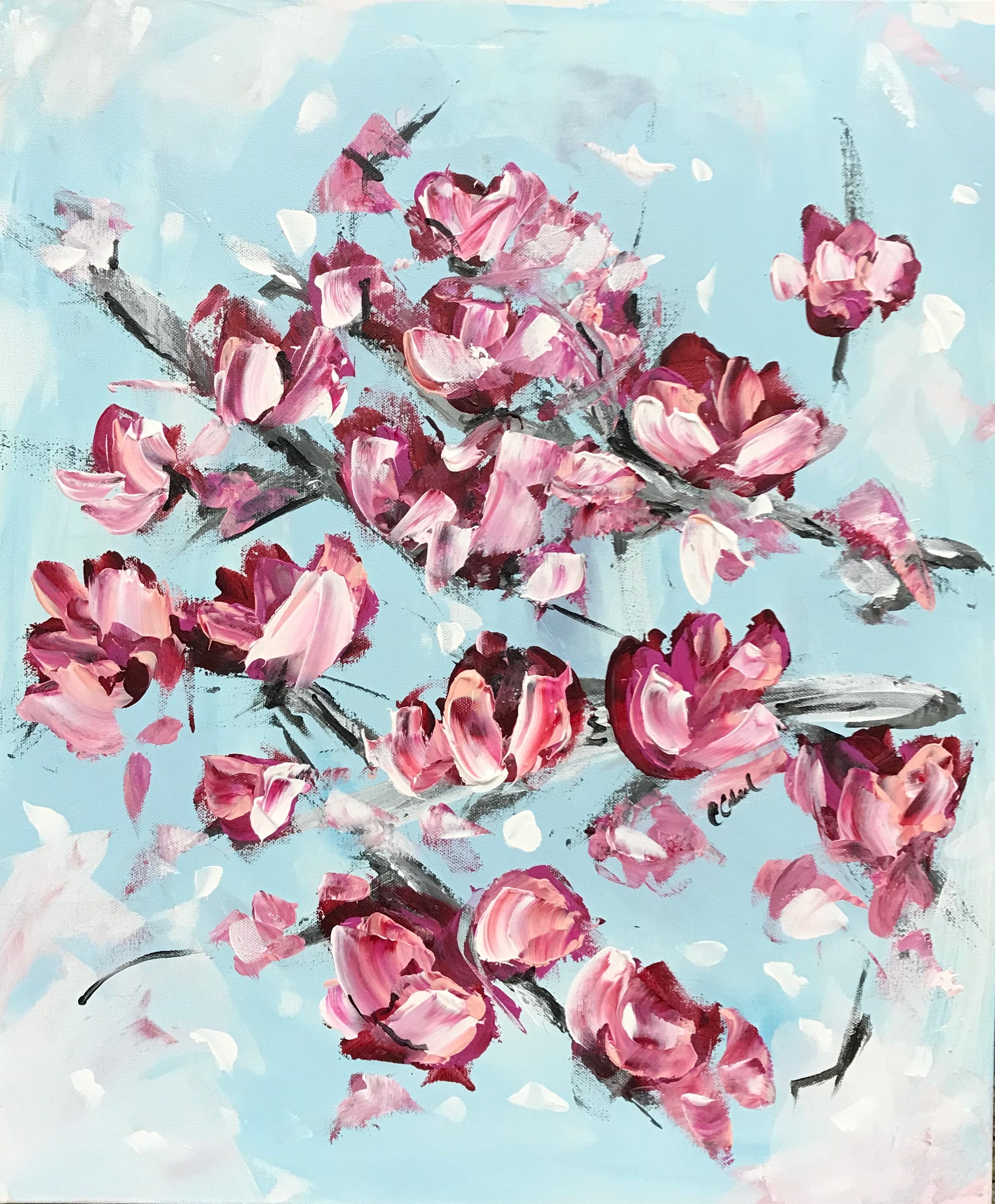 MAGNOLIAS, FLEETING 20X 24 (SOLD)