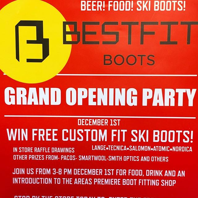 Grand opening party this afternoon! Come by and grab a beer and check out Truckee's best boot lab!