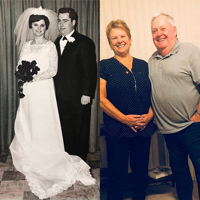 Happy 50th Wedding anniversary Mom and Dad 🥳  Today 50 years ago our parents tied the knot at Grande Central in Alberta in 1969. Mom, to this day, still talks about how cold it was but Dad has never confirmed it 😂 Maybe Mom had cold feet ?? Mom was a farm girl / hairdresser and Dad was in the Airforce, they met on a blind date & according to Mom.....Dad immediately was in love with her and for the next 6 months the never missed a day without seeing each other. Rumour has it, Dad was quite the romantic guy he wrote Mom lots of love letters ( like everyday )and showed her love from the very start.  With Dad in the Airforce they moved a lot and as time pass they had their first son, Jeff then 2 years later Jason came aboard, seed it up to 5 years later I came to join the team.  The 5 of us stuck together as we moved from Edmonton to Calgary to Ottawa then finally settling in Winnipeg in 1986.  Even to this day FAMILY is the most important value to my Parents and us boys watched and observe over the many years, how Mom and Dad  treated each other and how they ALWAYS put their family first.  I 'm certain they sacrificed lots in their lives to make sure the family had what it needed,  like most parents do.  What Mom and Dad gave us was LOVE and lots of it ❤️ and did their very best at raising us ( Jason and Jeff were the ones that got into trouble lots .... I was kinda like the golden child 😊) LOVE is the most powerful force and Mom and Dad gave it to us and still continues to give it to us BUT what's more important, they have unconditional Love towards each other everyday for the pass 50 years . Here's to Mom and Dad🥳🥂 50 years strong and no slowing down ...Love is magical ❤️ and your whole family admires your commitment and love to each other and we are privileged to call you Mom and Dad and the Baba and Pop. #happy50thanniversary #love #momandad #19692019