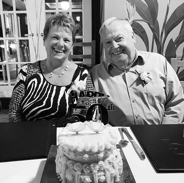 """Last nights dinner was fantastic 🥳🥂 so what's the secret to making it to 50 years ?? I ask Mom and her answer """" it's 50/50 """" love that ❤️✌️such a simply answer but with so much deep meaning  #love #leaveegooutoftherealtioship #equal #loveyouguys"""