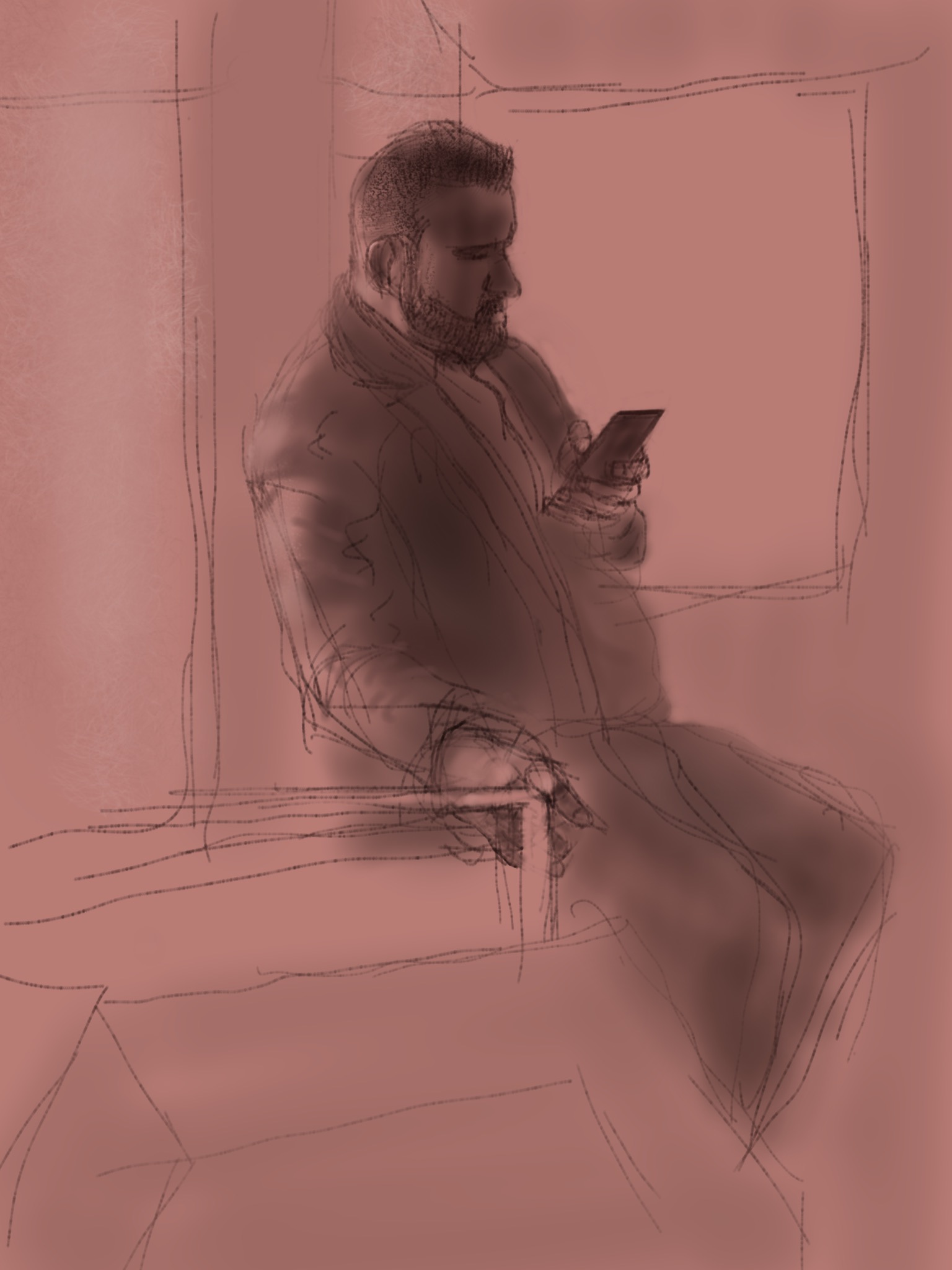 Man with Beard and Phone. Sketchbook Pro