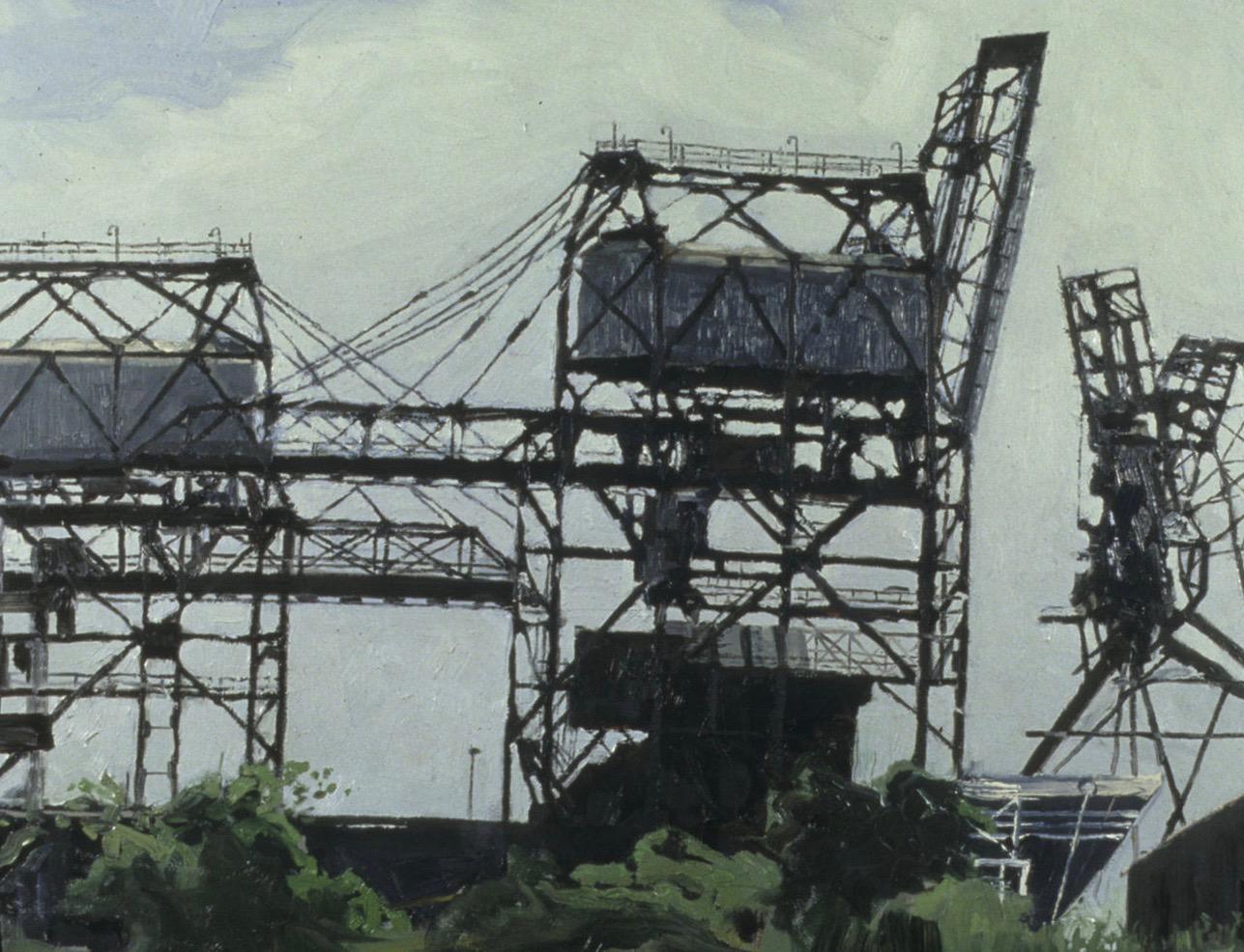 "Three Iron Ore Cranes 24x36"" Oil on Canvas"