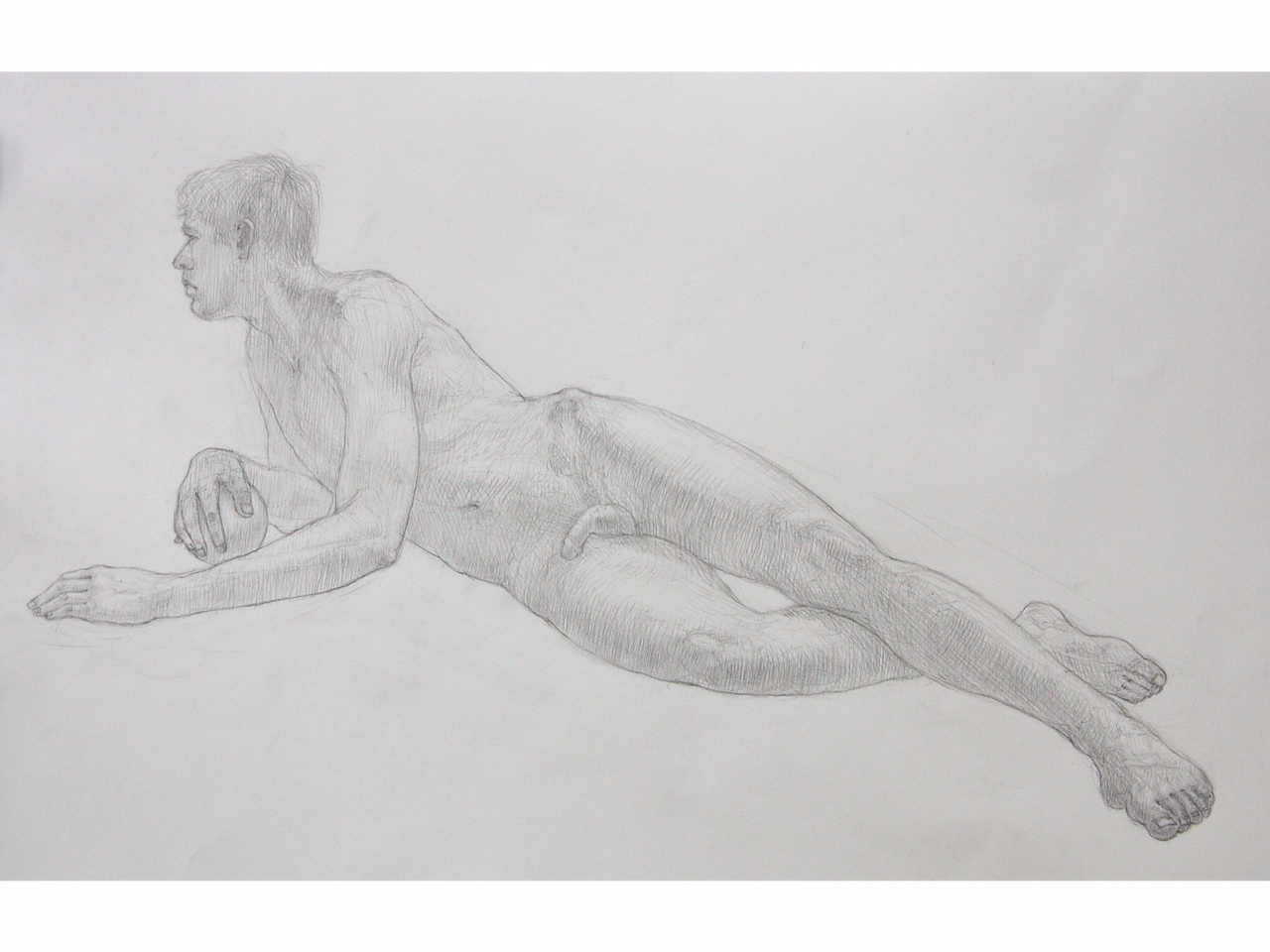 """""""Reclining Male with Sphere"""" Pencil on Arches water color paper. 22x30"""""""