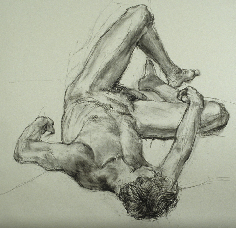 Male nude. Charcoal on Strathmore drawing paper 4'x4'