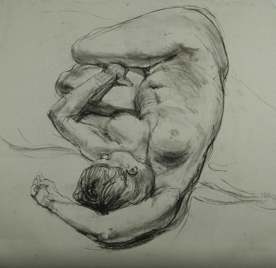 Female nude. Charcoal on Strathmore drawing paper 4'x4'
