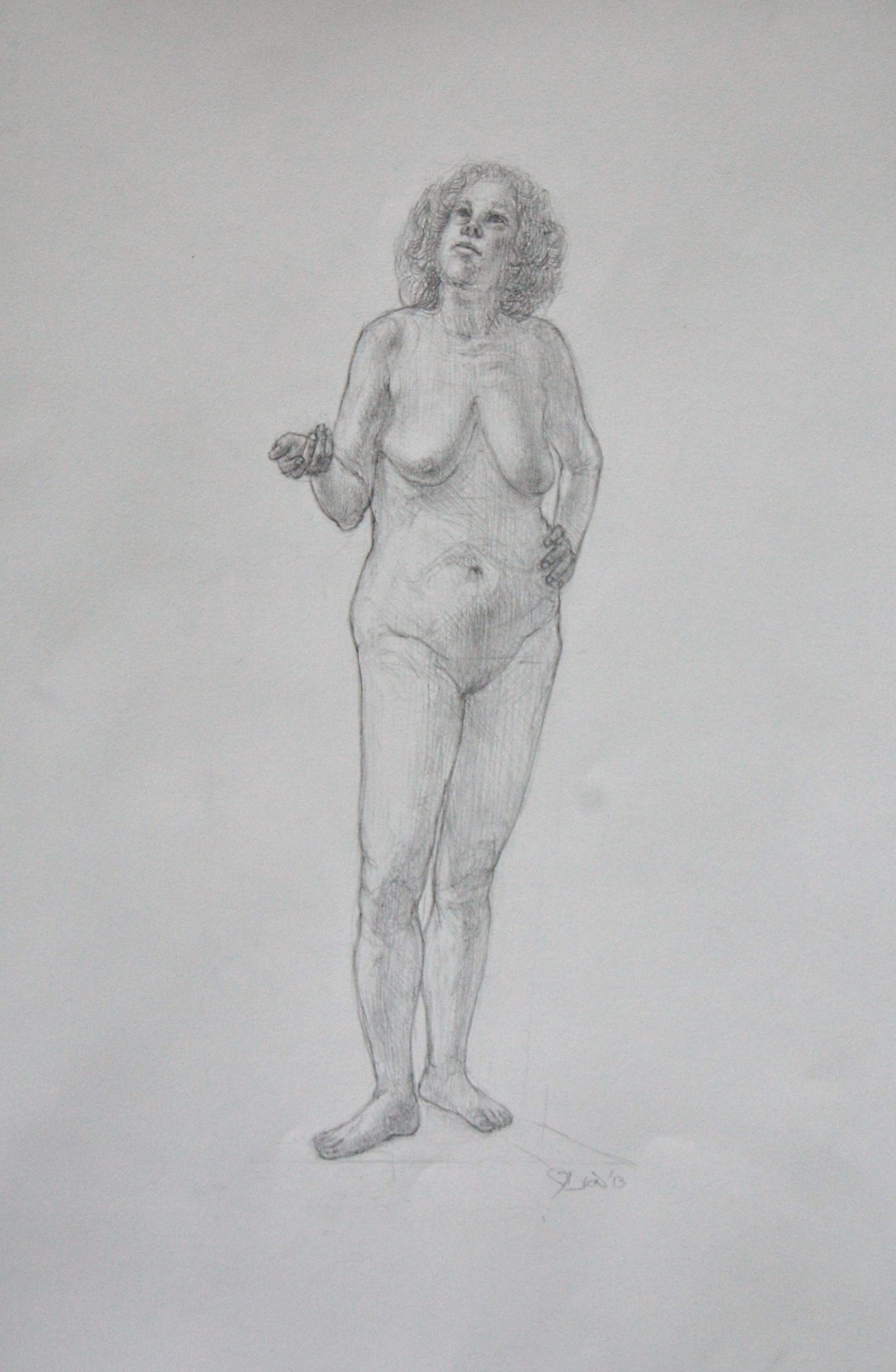 """Standing female. Pencil on Arches hot press 13x19"""""""