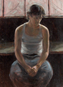 """Pete. Oil on paper 15x7.5"""""""