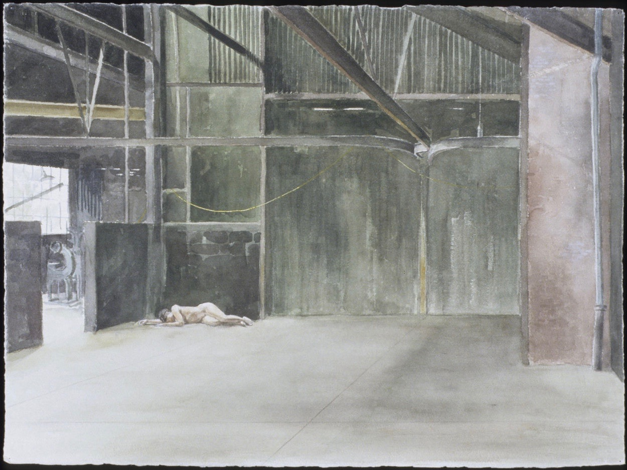 Nude in Foundry III 22x30 Wather color on paper.jpg