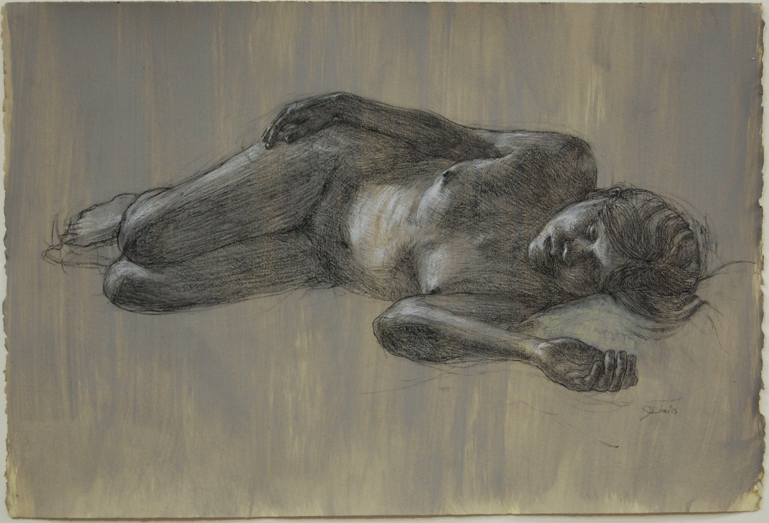 """""""Reclining Nude"""" Charcoal and white on prepared paper. 22x30"""""""