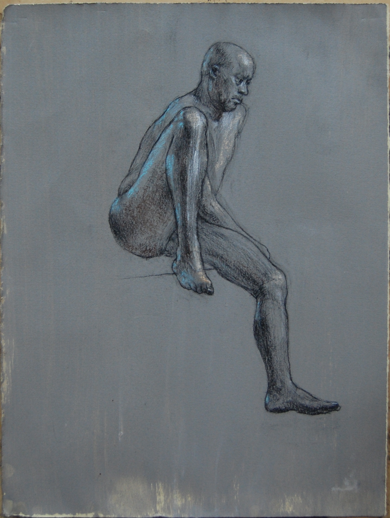 """David seated. 11x9"""" Charcoal. white and blue on prepared paper"""