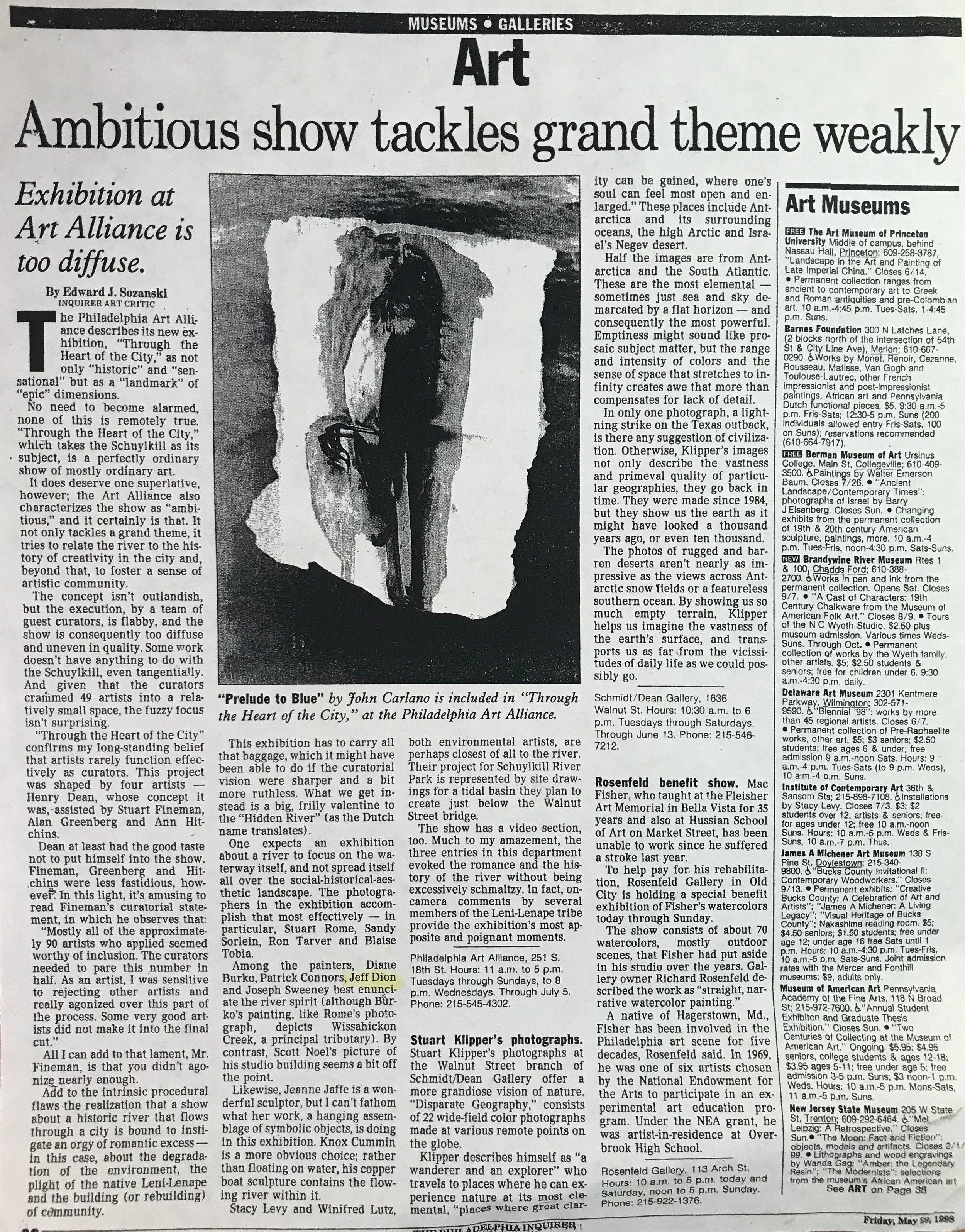 Ambitious Show... The Philadelphia Inquirer Edward Sozanski 1998