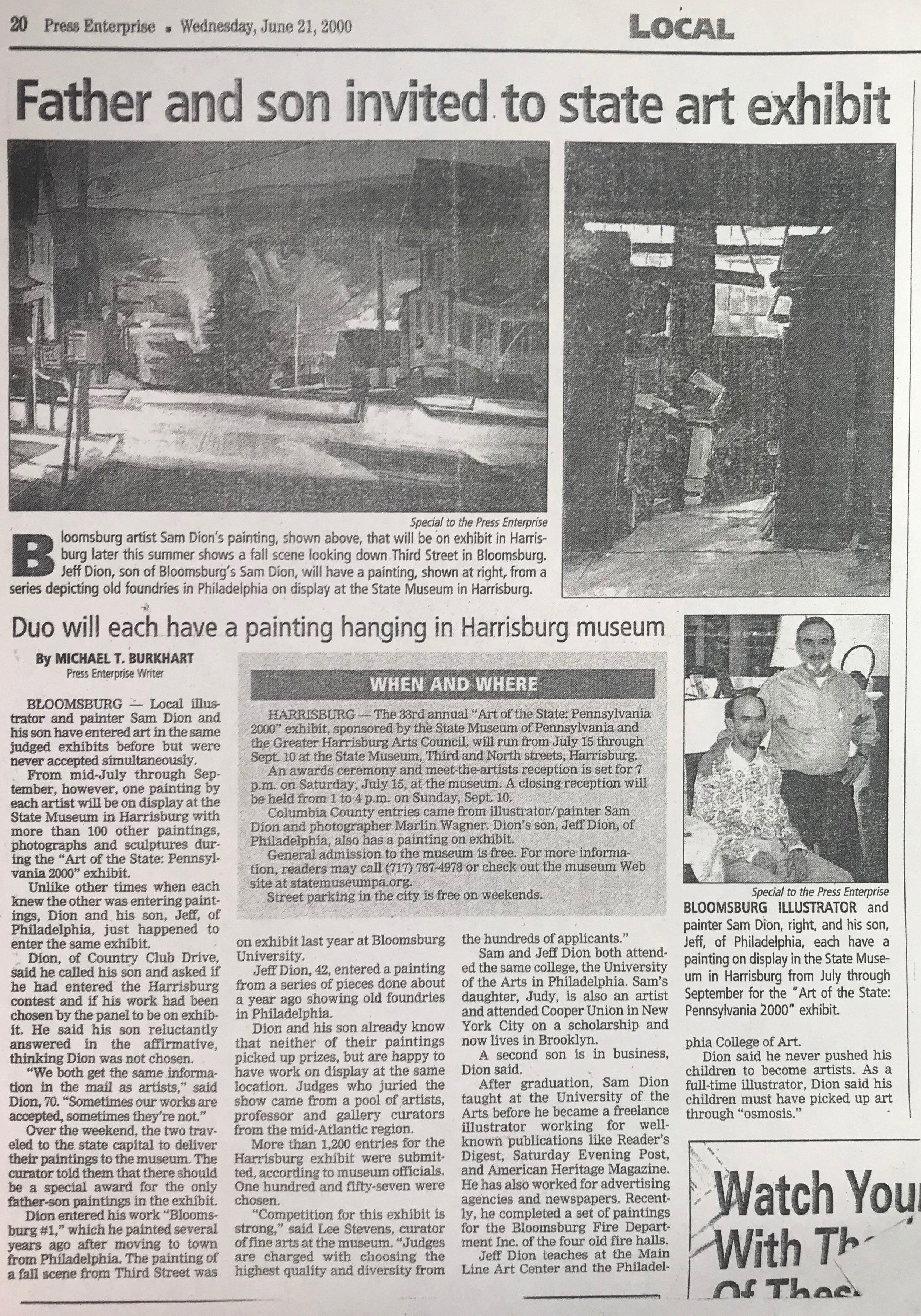 Father and Son invited.... Press Enterprise Michael Burkhart 2000