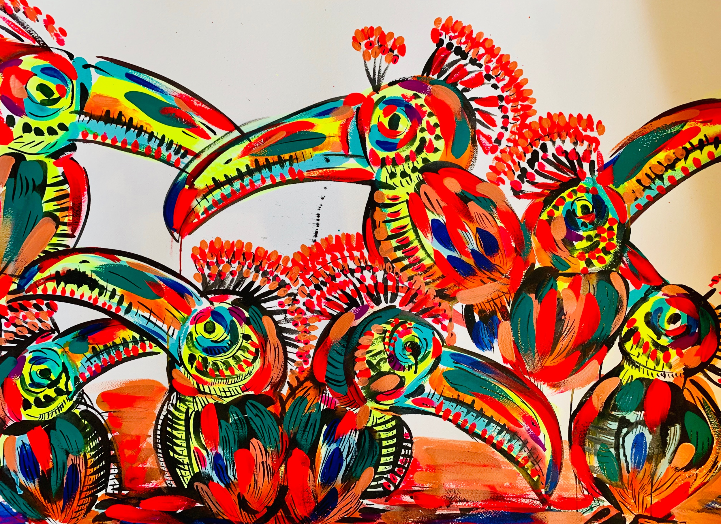 "Toucan Party. 26""x40"". Acrylic on paper."