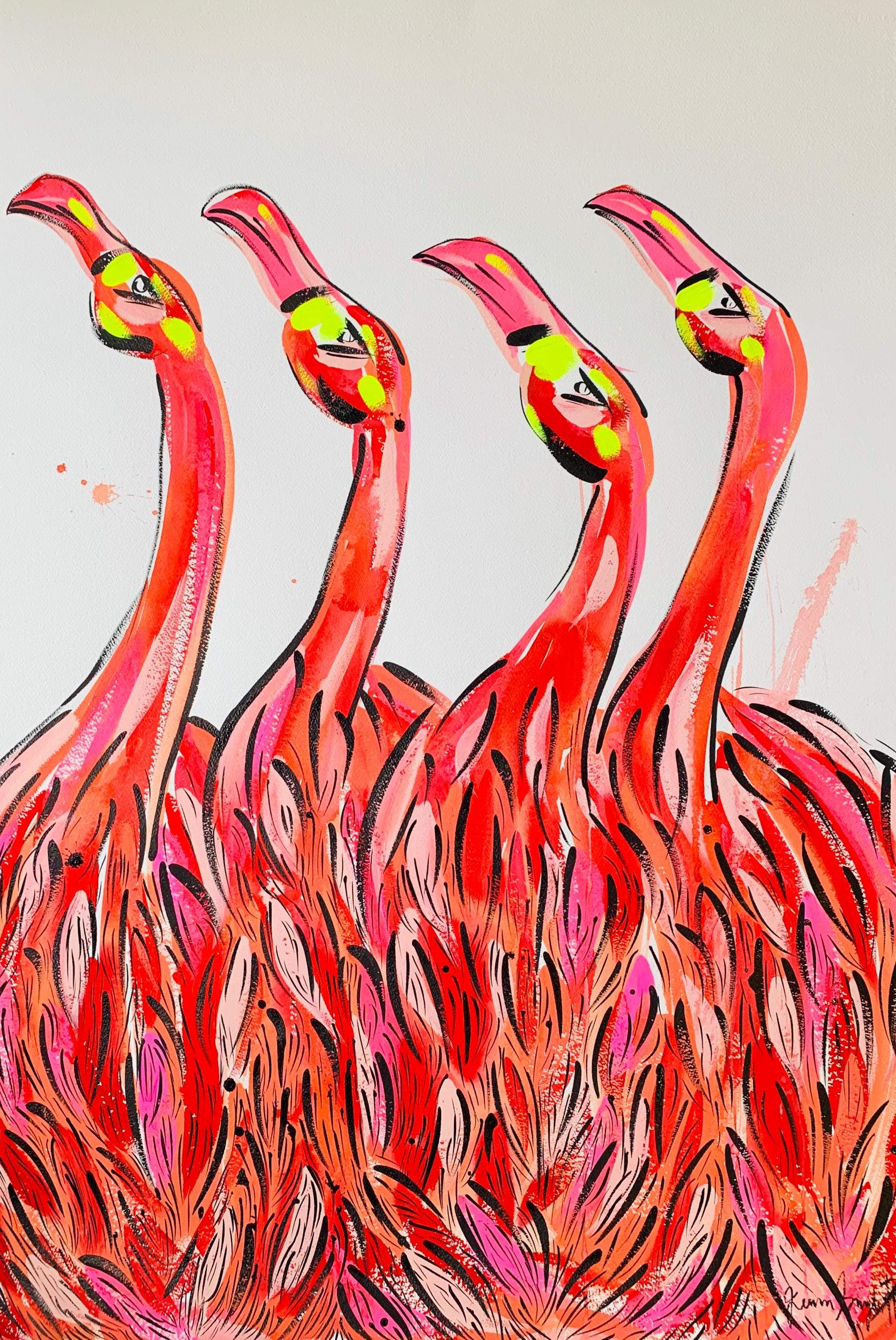 "Flamingo Clique. 30""x40"". Acrylic on paper."