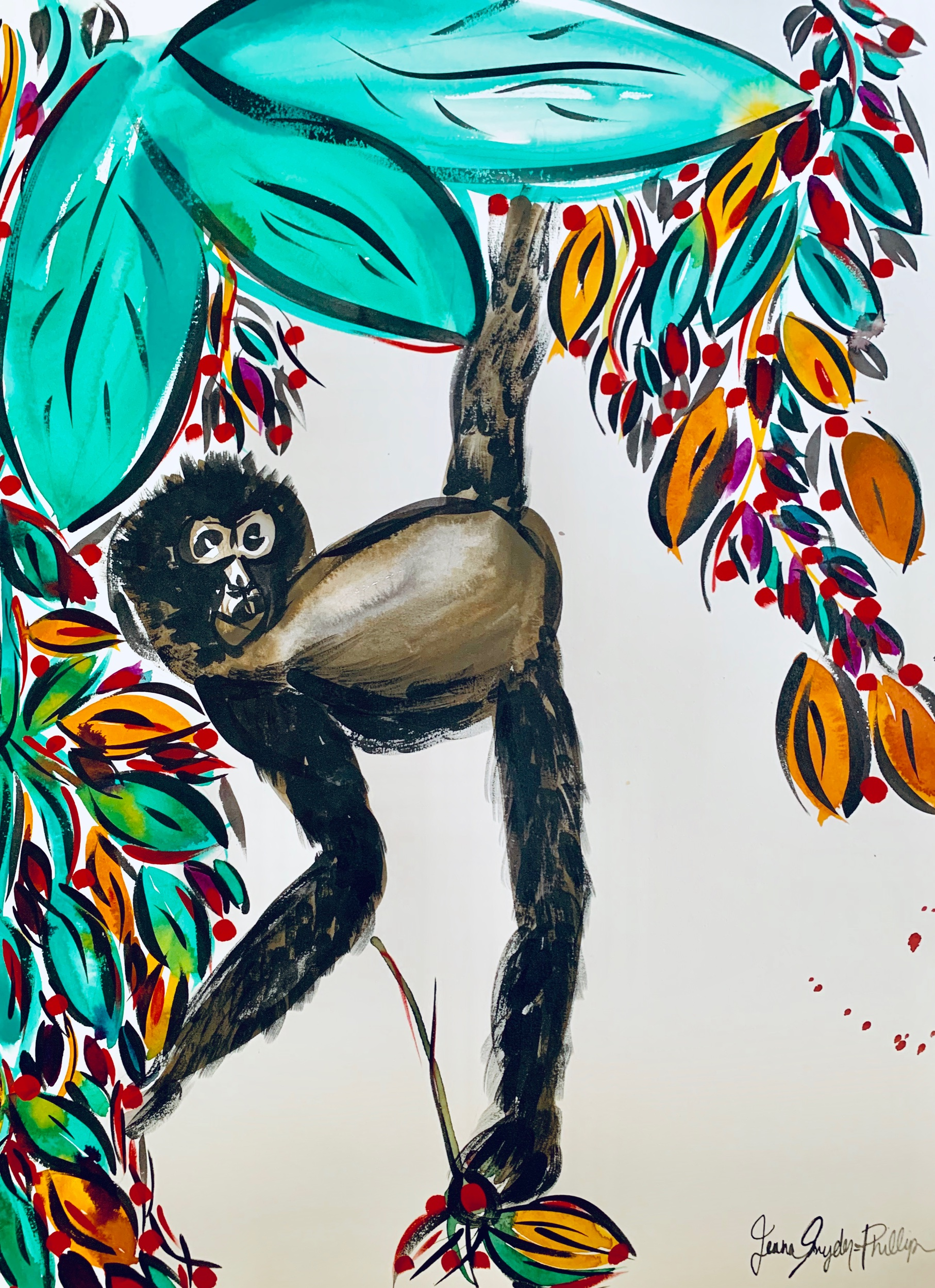 "Macaco. 22x30"". Gouache on paper."
