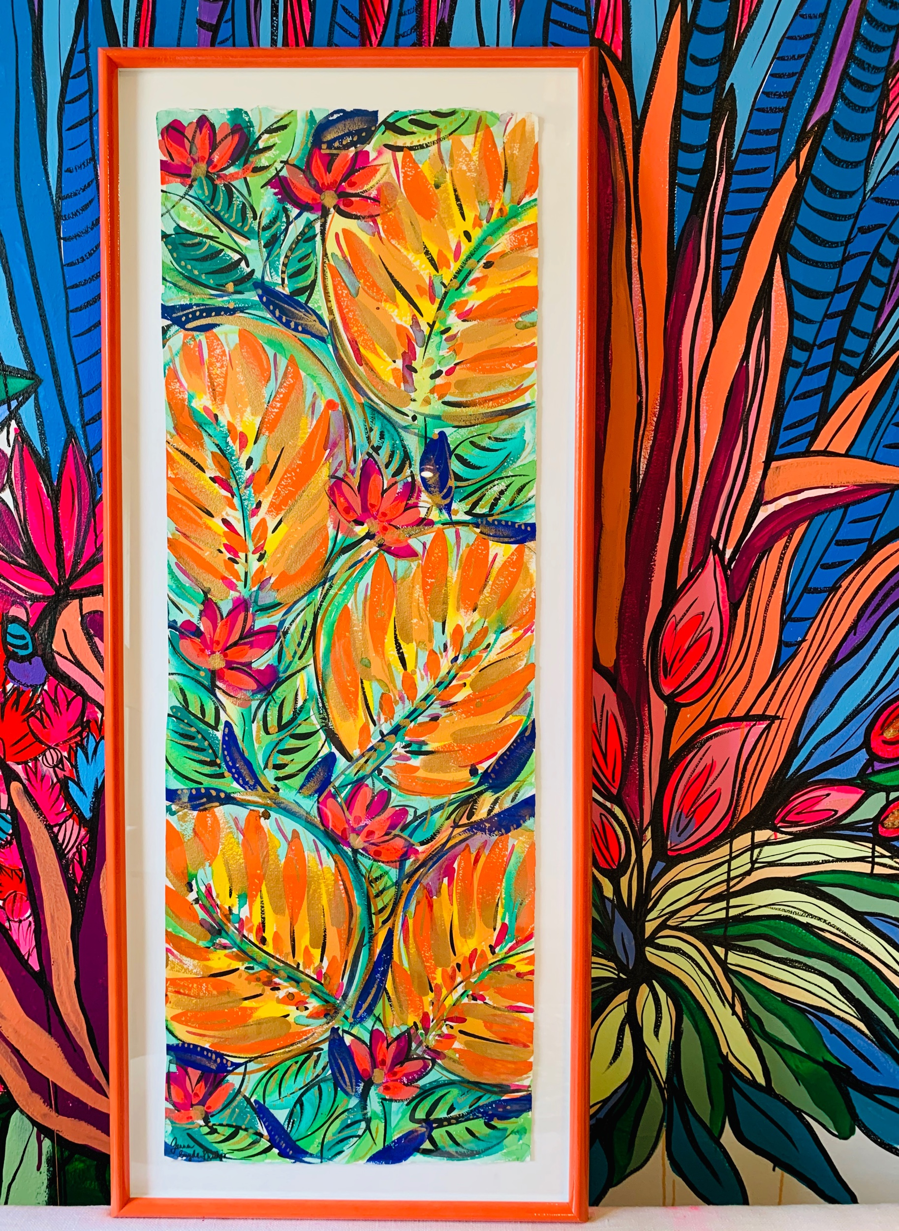 "Trancoso. 20""x 47"". Acrylic on Paper. Framed and float matted."