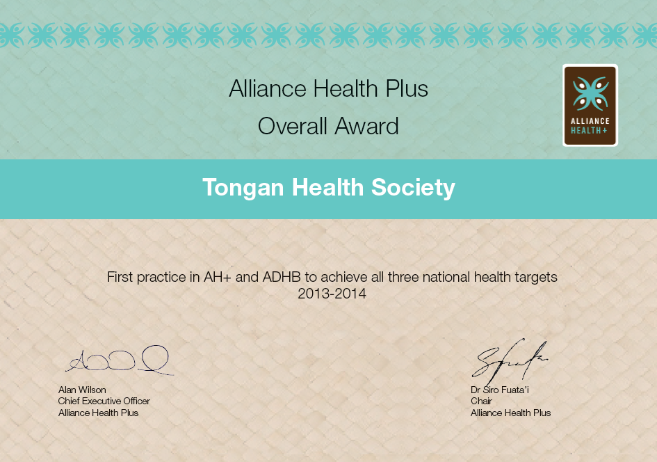 Alliance Health Plus Overall Award 2013-2014 - First practice in AH+ and ADHB top achieve all three national health targets 2013-14
