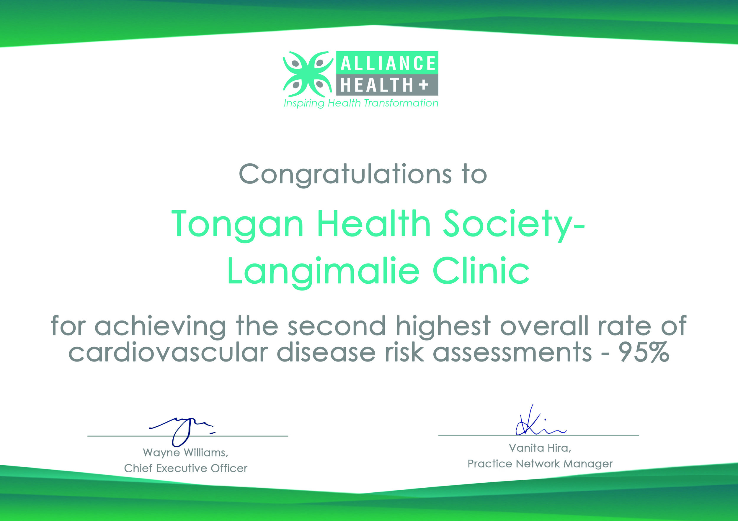 Alliance Health Plus - For achieving the second highest overall rate of cardiovascular disease risk assessments - 95%.
