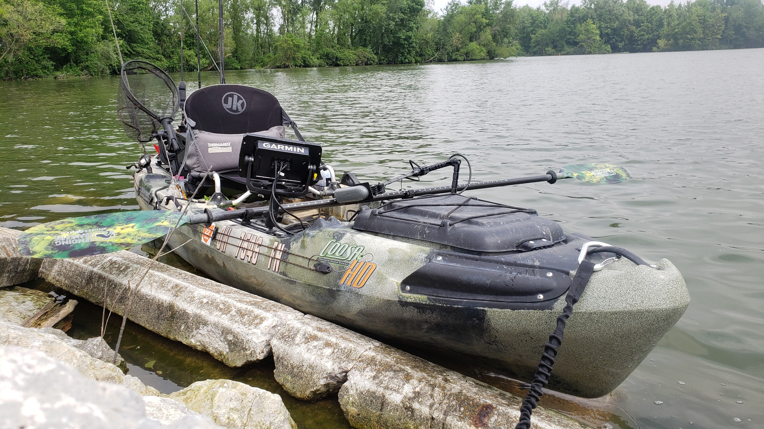 Josh's Gear    2015 Coosa HD  PFD: NRS Chinook  Paddle: Bending Branches Angler Pro  Anchor: Anchor Wizard paired with Yakattack HD anchor trolley  Sonar: Garmin Striker 7sv with Yakattack switchblade transducer arm powered by a Dakota lithium battery  Storage: Yakattack Black Pack with 3 Yakattack rod holders, Hawg Trough Bracket, cup holder and rod holder for net. Yakattack rotogrip paddle keepers  Rod and Reels: Lews reels paired with Fenwick rods  Transport: Malone Microsport with Jpro cradles. C-Tug for portage and short distance  Favorite lures: Keitech swim baits with belly weight ewg hooks