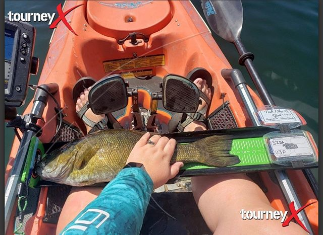 """@outdoorwoman84 aka Susie Roloff is the smallmouth whisperer. 19 1/2"""" smallie.  Susie is currently leading the Midwest bass battle which is part of @kayakbassleague  with 92 1/2"""" of all smallmouth.  #smallmouthbass #kayakbassfishing #kayakfishing #paddlenfin #adventuresofoutdoorwoman"""