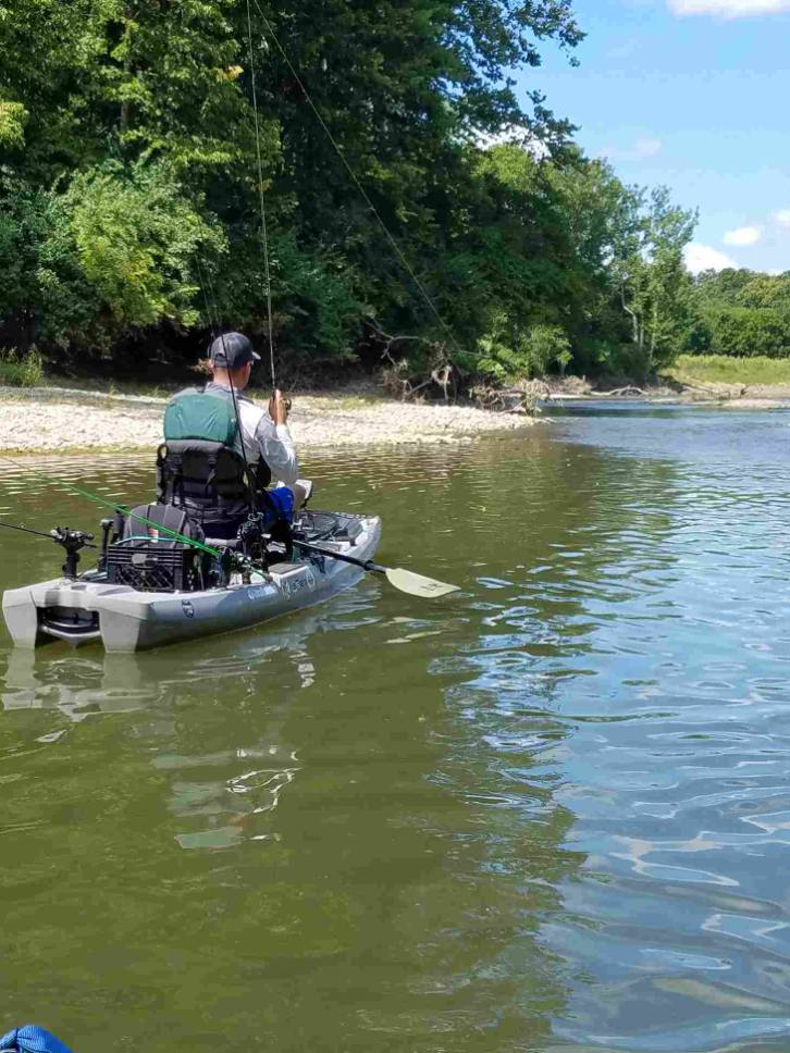 Tip: for river fishing, find a calm pocket of water next to current. These areas typically can be deeper 3 ft or more and hold fish all year round. The line that the water creates where the current and calm water meet is called a seam. Those seams are good spots to fish because it is basically a conveyor belt of food for fish to get an easy meal. In the summertime, set yourself up in the calm water and cast into the current. Fish like the current in the summer because of the oxygen it creates.