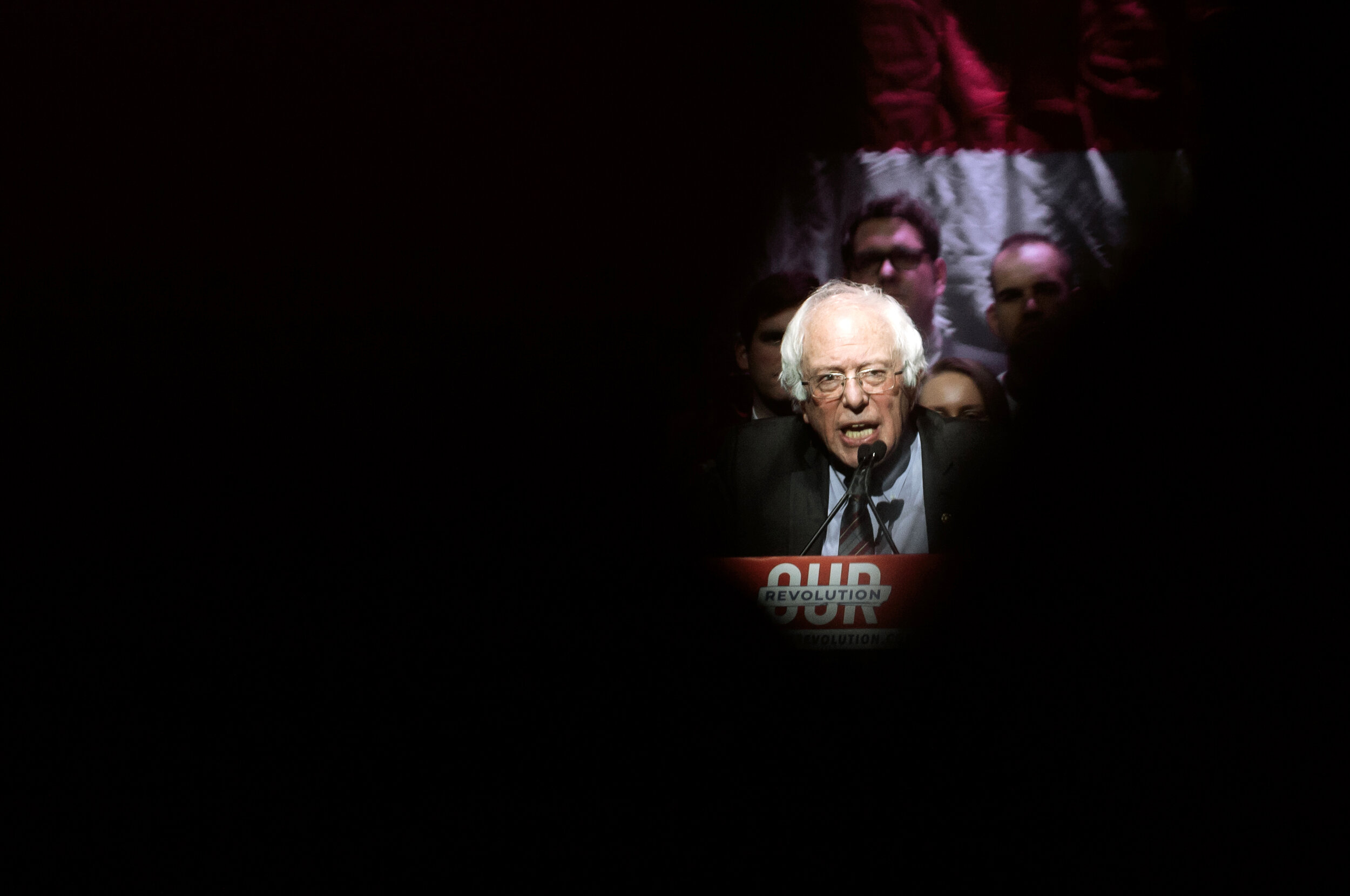 U.S. Sen. Bernie Sanders of Vermont speaks to the rowdy crowd at the Our Revolution Rally held at the Orpheum Theater in Boston MA.