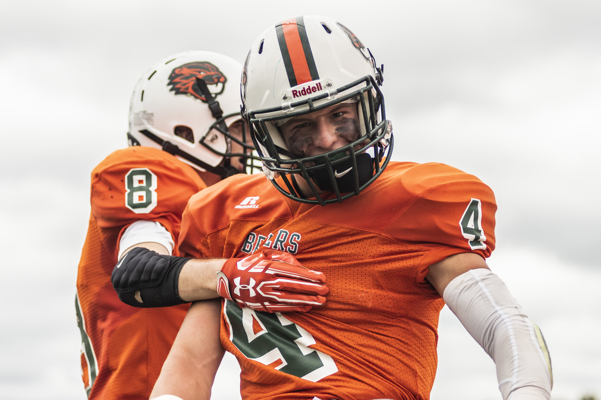 Noah Zerr, of Beaver River, celebrates after successfully catching a pass in the end zone to score against Sandy Creek in Beaver Falls.
