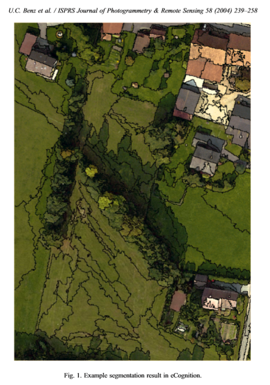 This is an example of one of the steps of object-based image analysis. The groupings are smooth and intuitive. Regions can be combined, such as the subdivisions of the fields. My classification (above), used a per-pixel approach, and resulted in a much more speckled, rough classification.