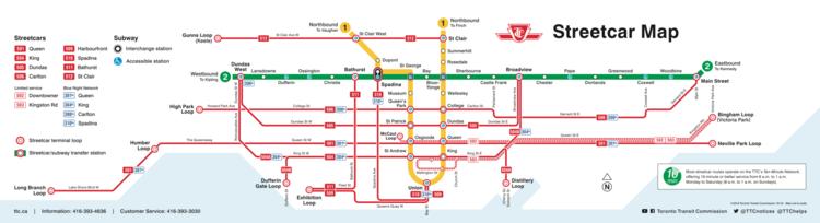 Map Toronto Subway.Toronto Streetcar Tunnel Time