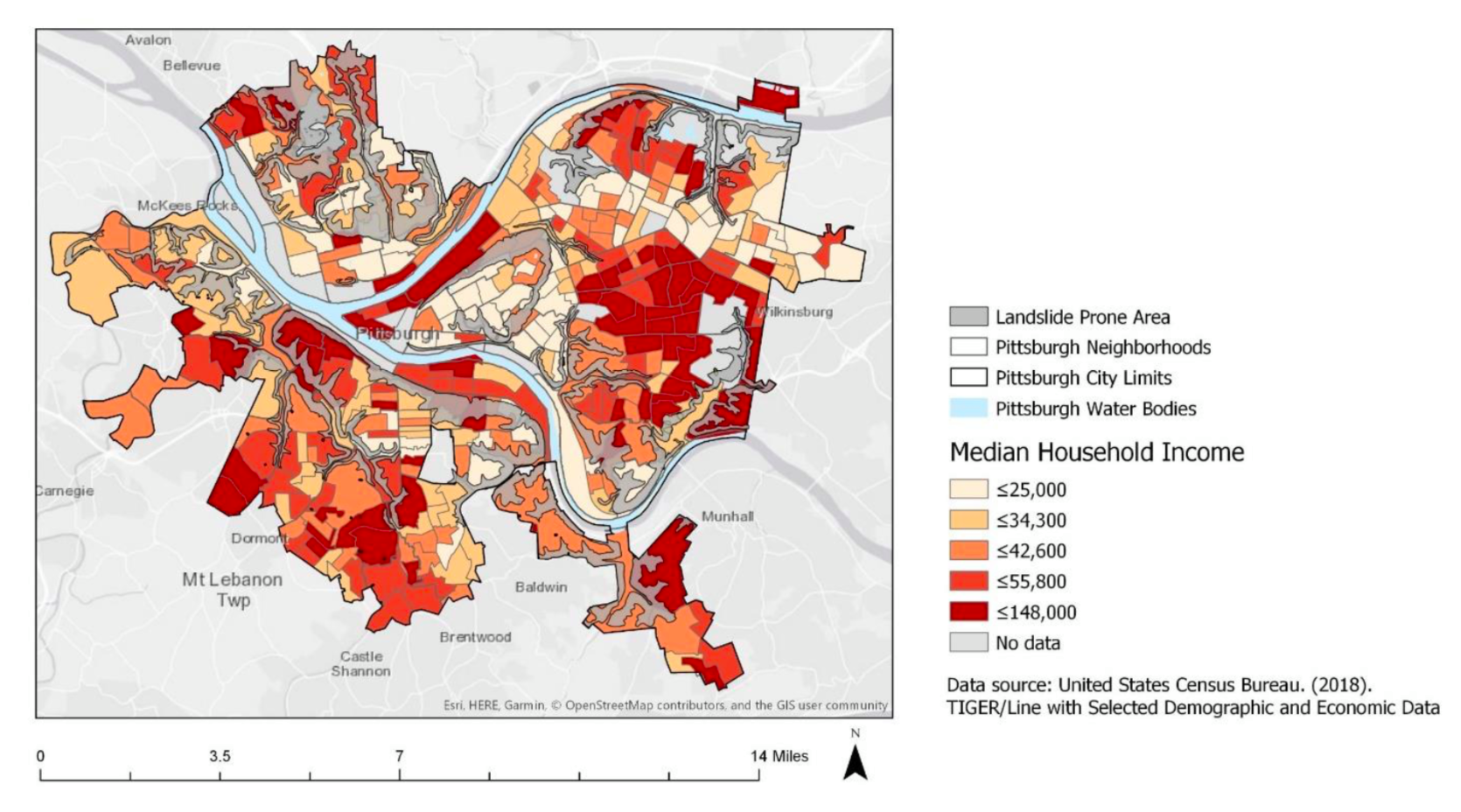 Figure 5: Median household income by Neighborhood in Pittsburgh and Landslide Prone Area Comparison by Caceres and Lopez with data from US Census Bureau and Western Pennsylvania Data Center