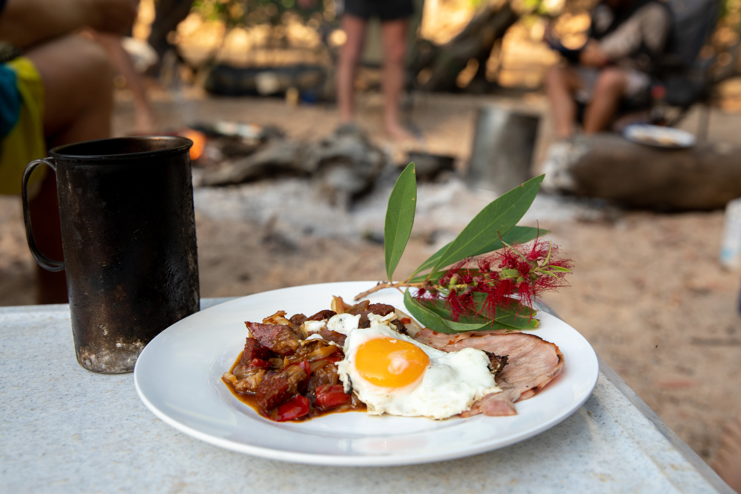 Love the simple things? - Sit back in the serenity and enjoy the classic outdoor Aussie breakfast on our camp adventures!