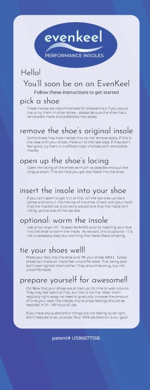 These instructions will arrive with your insoles.