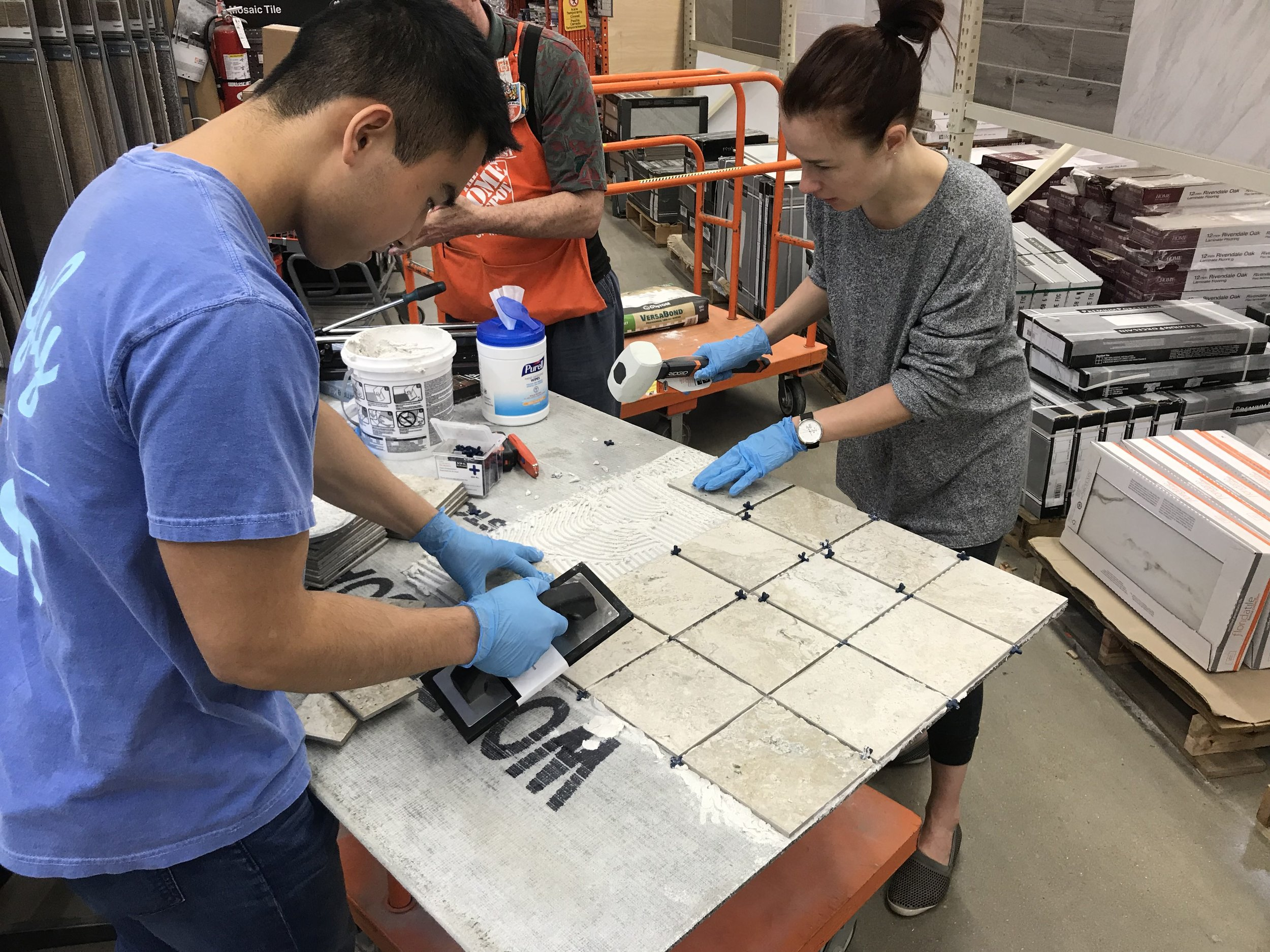 Mike and Irina at our first tiling workshop!