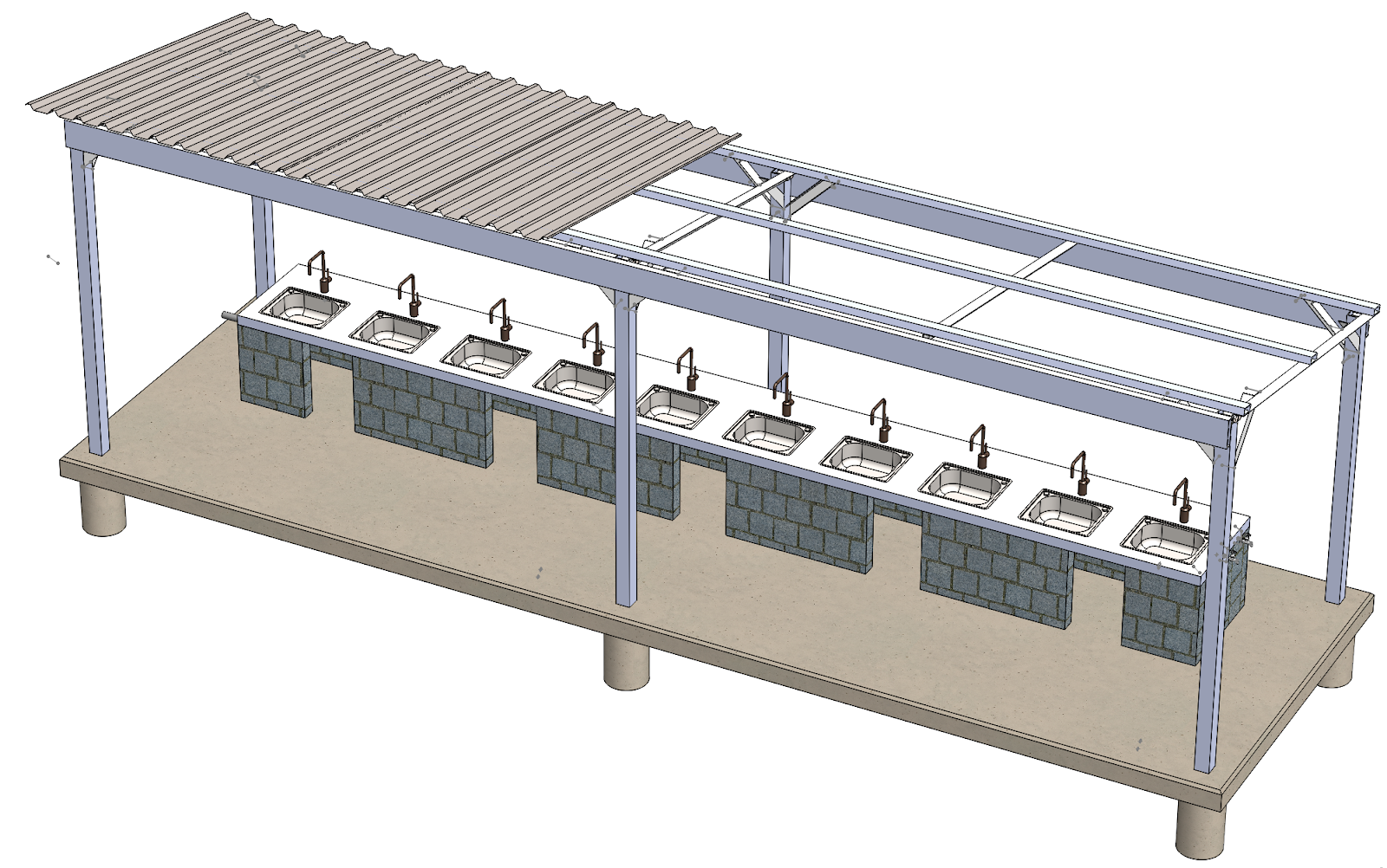 Here is a 3-D rendering of our sink structure design! The corrugated metal roofing will continue across the entirety of the roof; it is partially removed from the drawing in order to display the structural design of the roof structure.